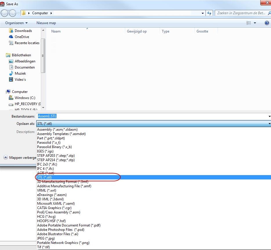 1.Выбор формата файла для экспорта