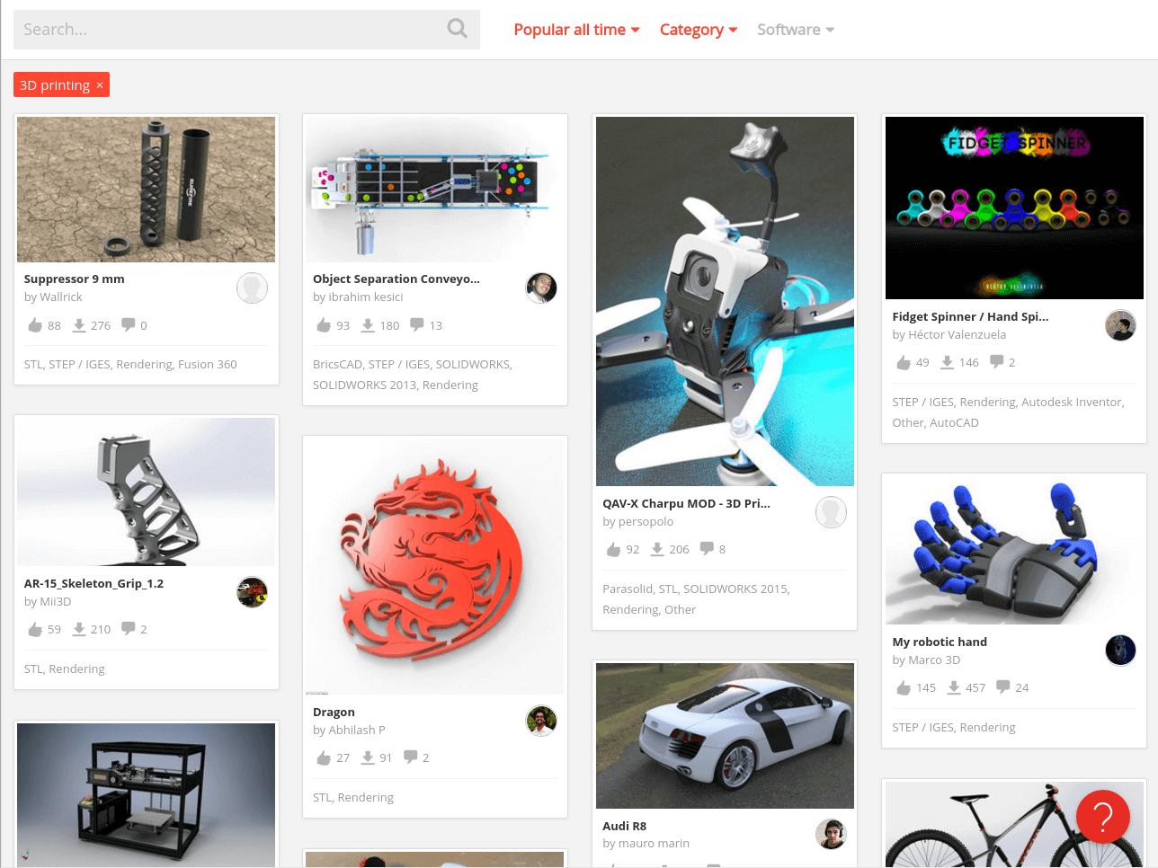 Бесплатные файлы STL, 3D-модели, файлы для 3D-принтера, 3D-модели для 3D-печати: библиотека GrabCAD